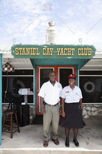 October 27, 2011: EXUMA, Bahamas. Locals at the Staniel Cay Yacht Club in Staniel Cay.