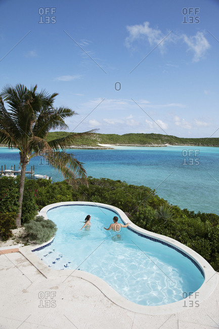 October 27, 2011: EXUMA, Bahamas. A pool at the Hill House which is the main common area at Fowl Cay Resort.