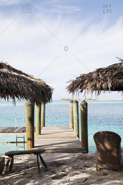 October 27, 2011: EXUMA, Bahamas. A dock of one the Villas at the Fowl Cay Resort.