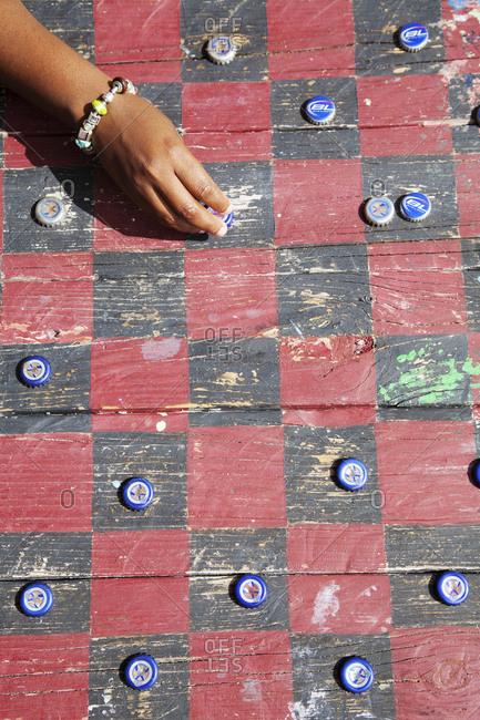 October 28, 2011: EXUMA, Bahamas. A homemade checker board at the Compass Cay Marina.