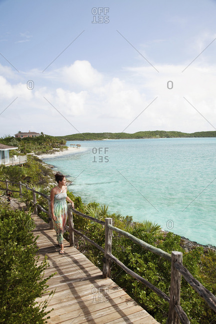 October 29, 2011: EXUMA, Bahamas. Nicole on a balcony of one of the villas at the Fowl Cay Resort.