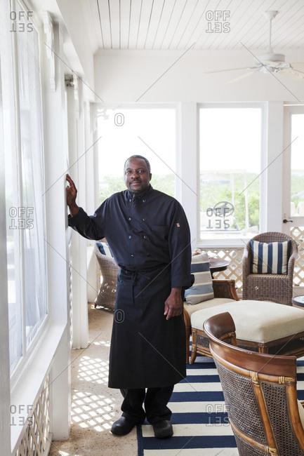 October 29, 2011: EXUMA, Bahamas. The executive Chef of the Fowl Cay Resort.
