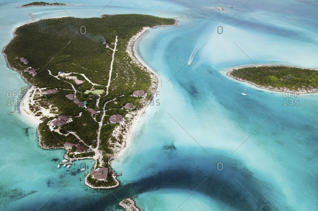 October 30, 2011: EXUMA, Bahamas. A view from the plane of the Fowl Cay Resort.