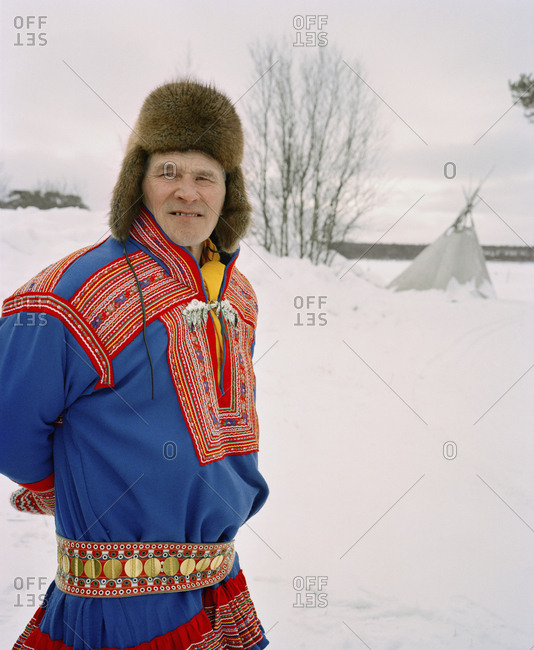 October 4, 2010: FINLAND, Hemet, Arctic, Sami man wearing a traditional Sami outfit during a Sami Festival in Hemet.