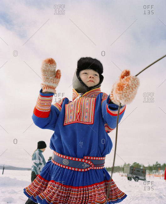October 4, 2010: FINLAND, Hemet, Arctic, a Sami boy wearing the traditional Sami outfit during a Sami Festival in Hemet.