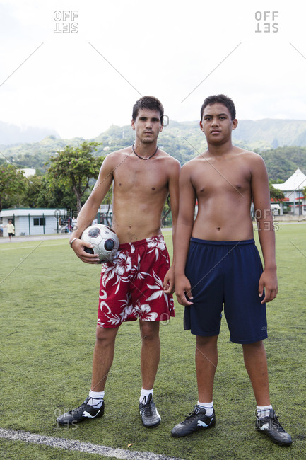 April 5, 2010: FRENCH POLYNESIA, Tahiti, Papeete. A soccer game between locals at the Willy Bambridge Stadium. Portrait of the soccer players.