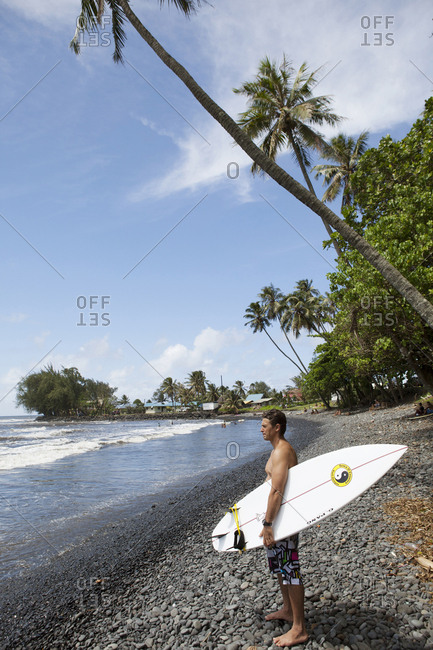 April 5, 2010: FRENCH POLYNESIA, Tahiti. Local surfers at Papenoo Beach.