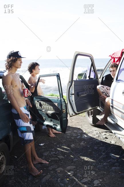 April 5, 2010: FRENCH POLYNESIA, Tahiti. Local surfers at Papenoo Beach.