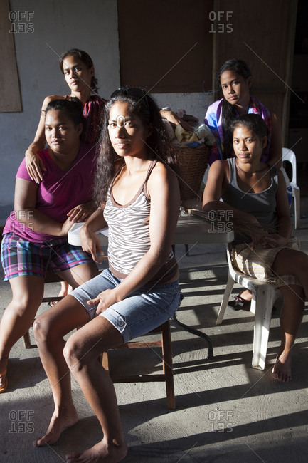April 6, 2010: FRENCH POLYNESIA, Tahiti. A family of sisters a their home in Papenoo.
