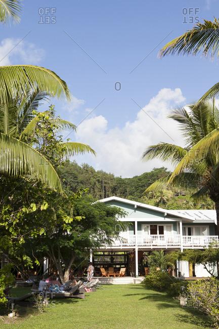 April 7, 2010: FRENCH POLYNESIA, Raiatea. The Raiatea Lodge on Raiatea Island.