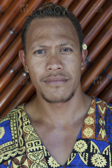 April 8, 2010: FRENCH POLYNESIA. Vahine Island. Portrait of Tino, a staff member at the Vahine Private Island Resort Hotel.