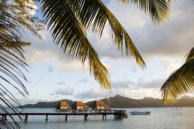 April 9, 2010: FRENCH POLYNESIA, Vahine Island. Bungalows, rooms and the grounds of the Vahine Private Island Resort.