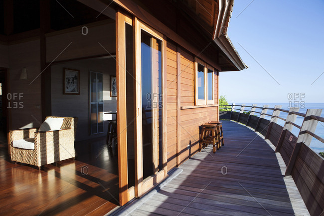 April 11, 2010: FRENCH POLYNESIA, Moorea Island. Bungalows, Interiors and views of the Legends Resort Moorea. View of a deck of one of the bungalows.