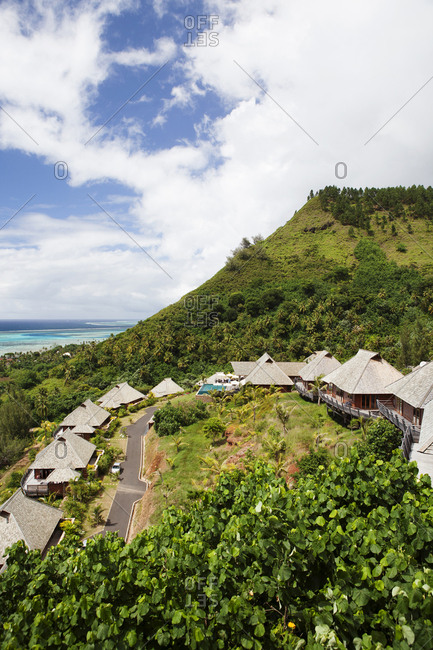 April 11, 2010: FRENCH POLYNESIA, Moorea Island. Bungalows, Interiors and views of the Legends Resort Moorea.