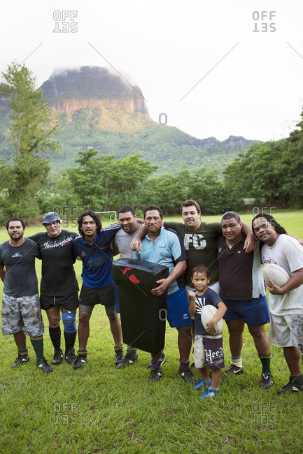 April 13, 2010: FRENCH POLYNESIA, Moorea. A local rugby team called Team Rotui practicing at Uop honu Park in Moorea Island.