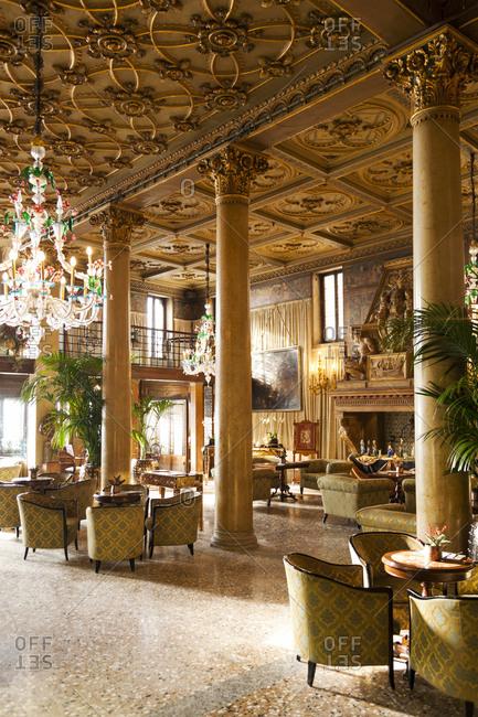 December 29, 2010: ITALY, Venice. The Lobby of Hotel Danieli.