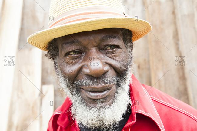 """January 31, 2012: JAMAICA, Port Antonio. Derrick """"Johnny"""" Henry of the Mento band, The Jolly Boys."""