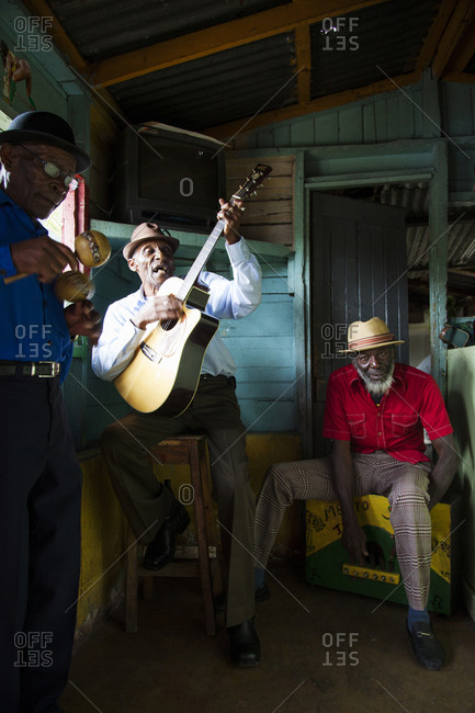 "January 31, 2012: JAMAICA, Port Antonio. Albert Minott, Joseph ""Powder"" Bennett and Derrick ""Johnny"" Henry of the Mento band, The Jolly Boys performing at the Willow Wind Bar."