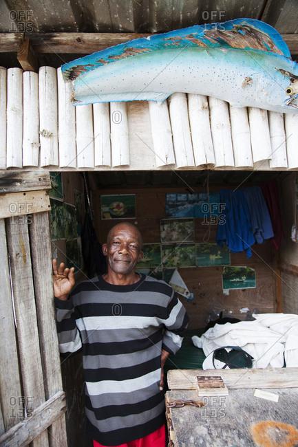 January 31, 2012: JAMAICA, Port Antonio. Local boatman Danny at the Blue Lagoon.