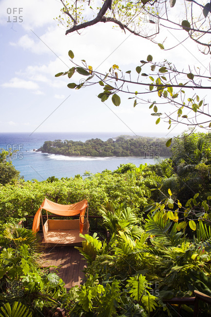 February 1, 2012: JAMAICA, Port Antonio. View of the coastline at the Geejam Hotel.
