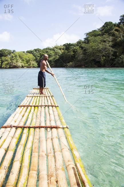 February 1, 2012: JAMAICA, Port Antonio. Local boatman Danny at the Blue Lagoon.