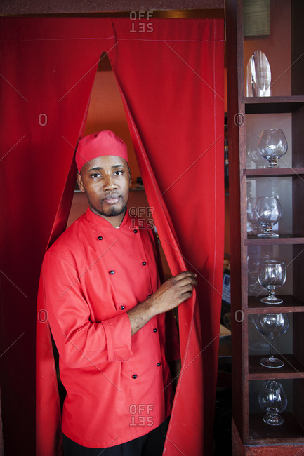 February 1, 2012: JAMAICA, Port Antonio. Portrait of kitchen staff at the Bush Bar at Geejam Hotel.