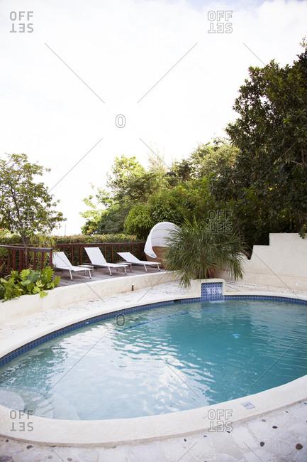 February 1, 2012: JAMAICA, Port Antonio. A swimming pool at Geejam Hotel.