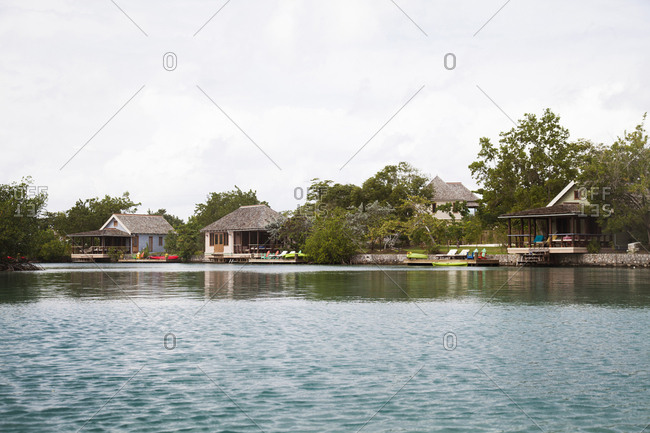February 2, 2012: JAMAICA, Oracabessa. Bungalows at the Goldeneye Hotel and Resort.