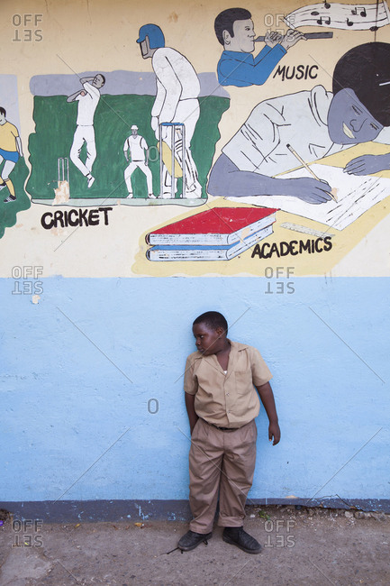 February 2, 2012: JAMAICA, Oracabessa. A young student at school.