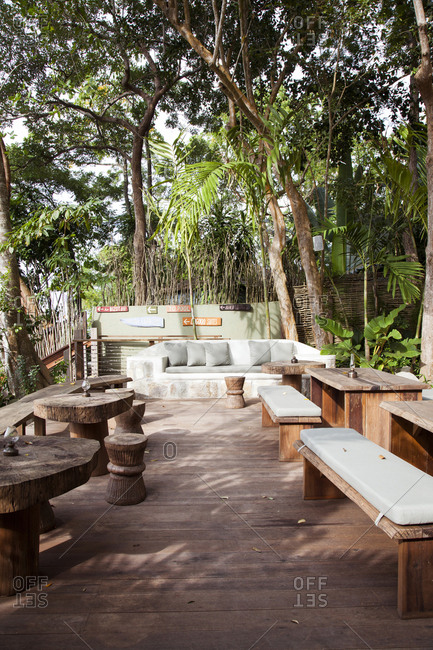 February 2, 2012: JAMAICA, Oracabessa. Goldeneye Hotel and Resort. View of sitting area by the lobby.