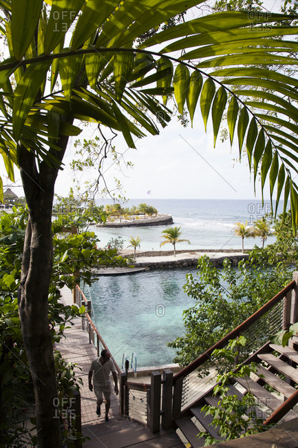 February 2, 2012: JAMAICA, Oracabessa. Goldeneye Hotel and Resort. View of the bridge and the beach area.