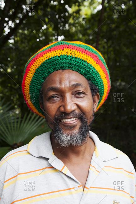 February 3, 2012: JAMAICA, Oracabessa. Goldeneye Hotel and Resort. Portrait of taxi driver.