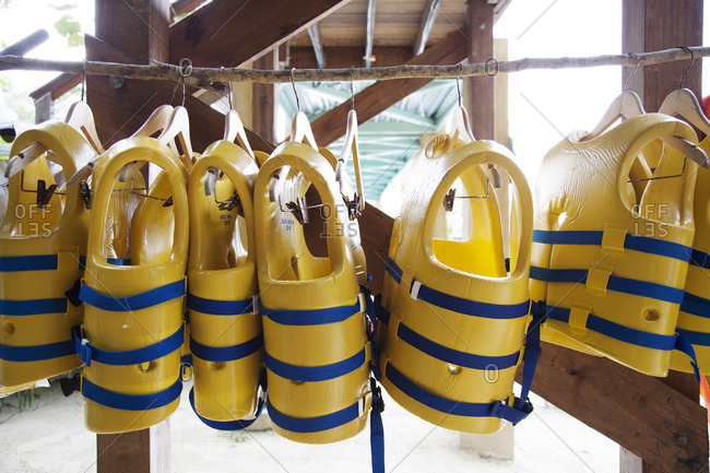 February 3, 2012: JAMAICA, Oracabessa. Goldeneye Hotel and Resort. Life Jackets at the resort.