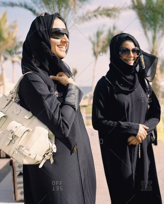 January 14, 2010: OMAN, Barr Al Jissa Resort and Spa, Muslim women in traditional clothing, smiling