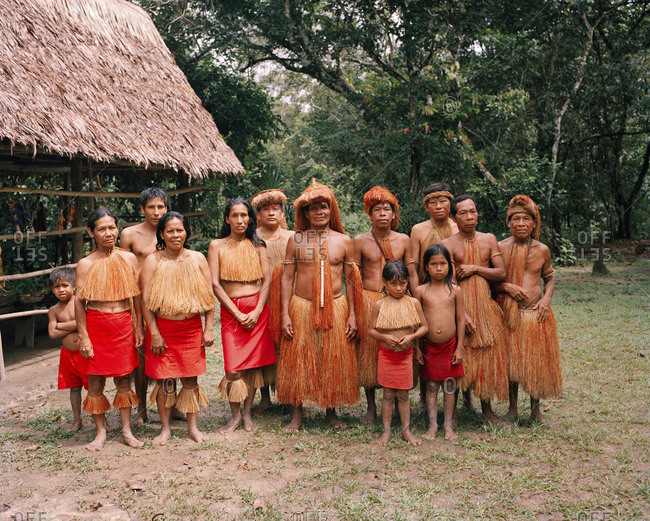 October 5, 2010: PERU, Amazon Rainforest, South America, Latin America, portrait of a tribal family standing together.