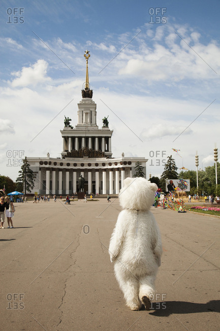 July 6, 2011: RUSSIA, Moscow. A person in costume at the All-Russia Exhibition Center.