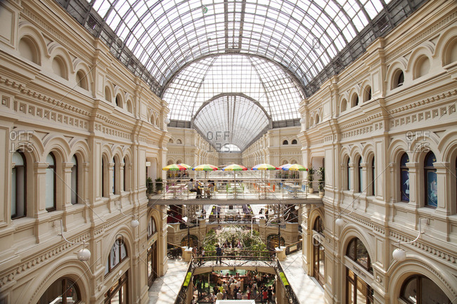 July 7, 2011: RUSSIA, Moscow. Interior of GUM Department Store on Red Square.
