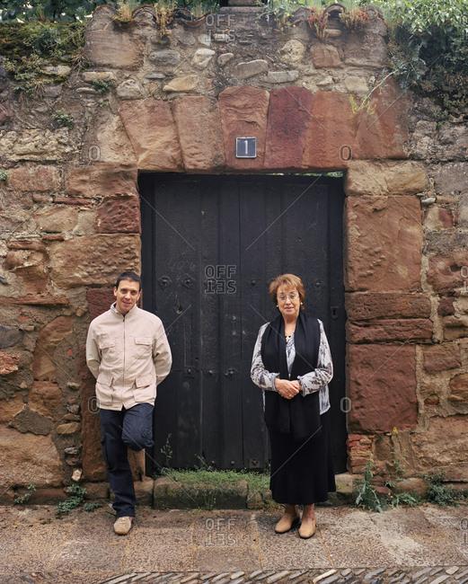 April 13, 2017: SPAIN, Ezcaray, La Rioja, Chef Francis Paniego and his mother, Chef Marisa Sanchez.
