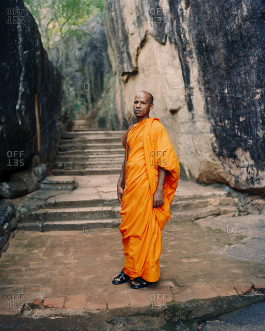 April 13, 2017: SRI LANKA, Asia, portrait of a Monk man standing at Sigiriya