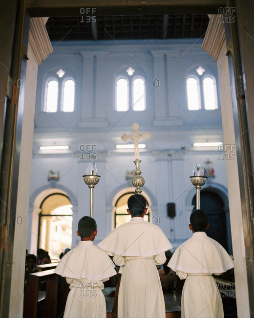 April 13, 2017: SRI LANKA, Asia, altar boys at St. Anne's Church in Beruwala
