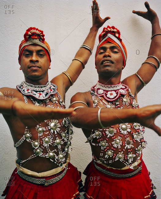 April 13, 2017: SRI LANKA, Asia, Kandy,  portrait of dancers performing at theatre