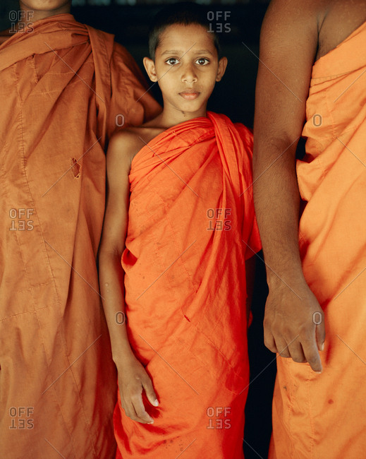 April 13, 2017: SRI LANKA, Asia, portrait of a young monk at the Pidurangala Temple.