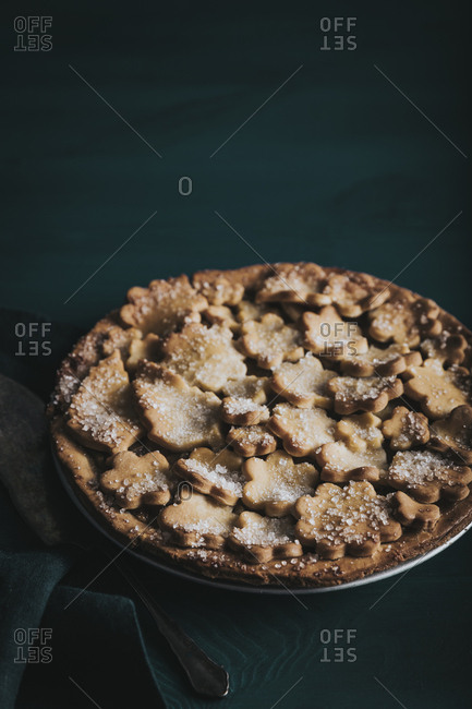 Close up of fancy apple pie