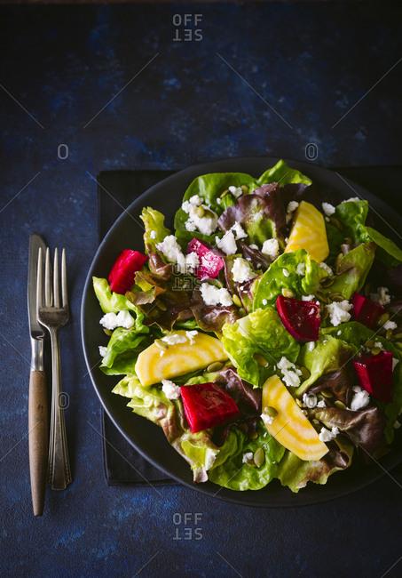 Butter lettuce and beet salad-vertical shot