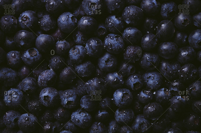 Horizontal close up of fresh blueberries