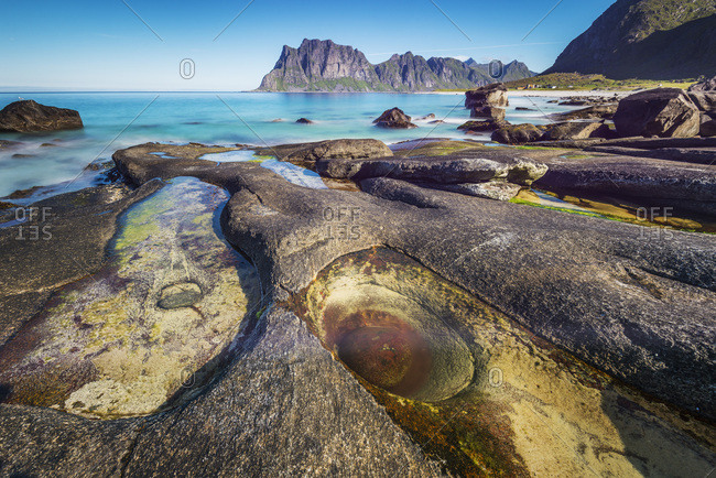 Norway, Nordland, Lofoten Islands, Scandinavia, Atlantic ocean, Uttakleiv Beach