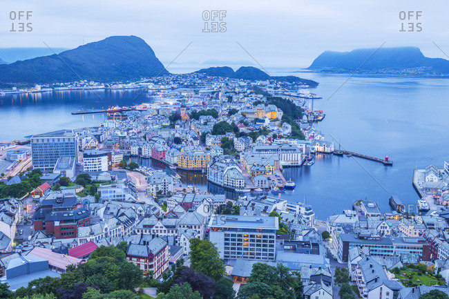 August 19, 2016: Norway, Alesund, Scandinavia, View of Fjellstua Utsiktspunkt (Fjellstua View Point)