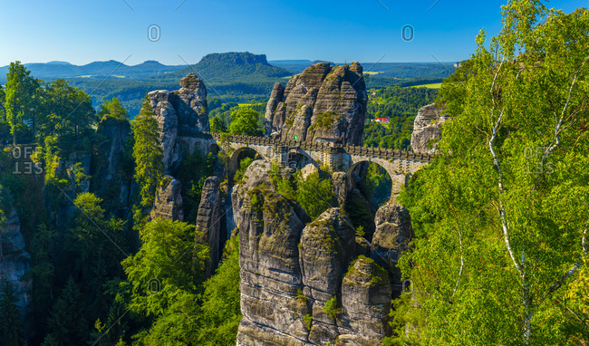 Germany, Deutschland, Saxony, Sachsen, Bastei Bridge, Elbsandstein Mountains, Saxon Switzerland National Park