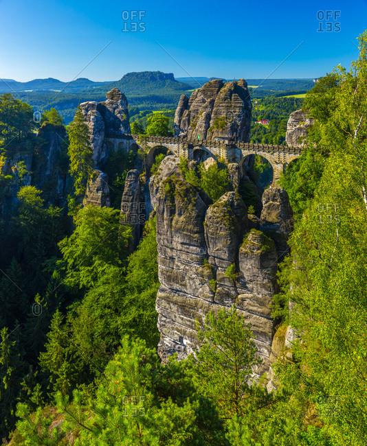 Germany, Deutschland, Saxony, Sachsen, Bastei Bridge, Elbsandstein Mountains, Saxon Switzerland National Park
