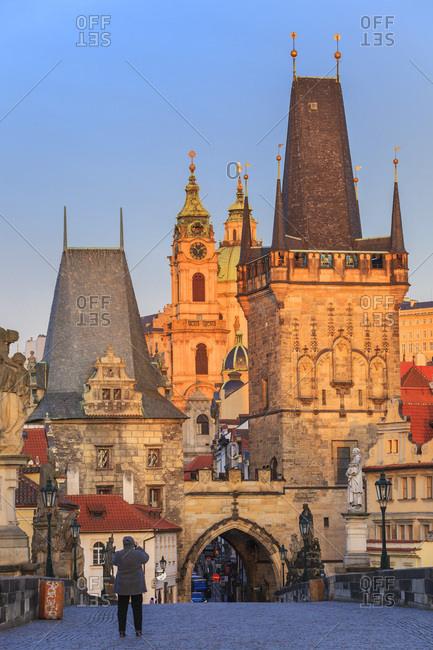 March 3, 2017: Czech Republic, Central Bohemia Region, Prague, Charles Bridge, Bohemia, Checy, Sunrise over the bridge